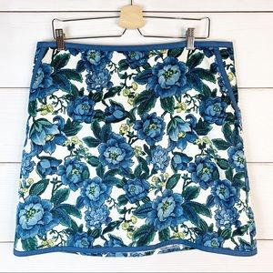 LOFT Blue Floral Mini Skirt with Pockets Size 14
